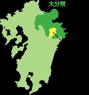 豊後大野市の位置を示す地図